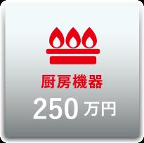 厨房機器:合計250万円